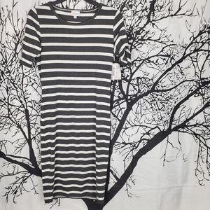 LuLaRoe Julia Dress Grey & White Striped Midi XS